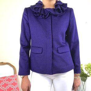 Boden Purple Cashmere Ruffle Neck Jacket